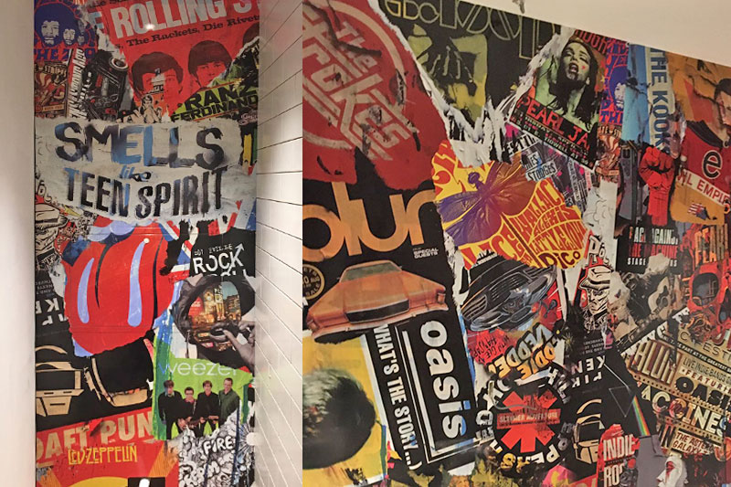Graphic panels at belushi's bar london
