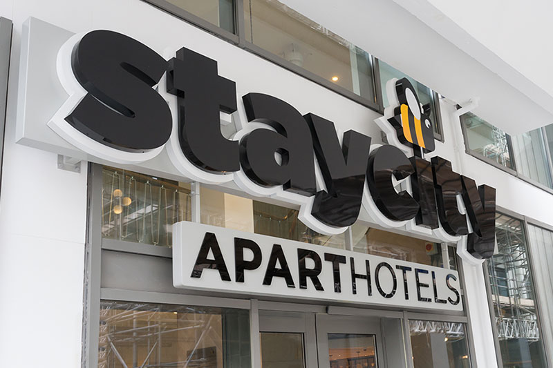 Staycity fascia sign over entrance to hotel