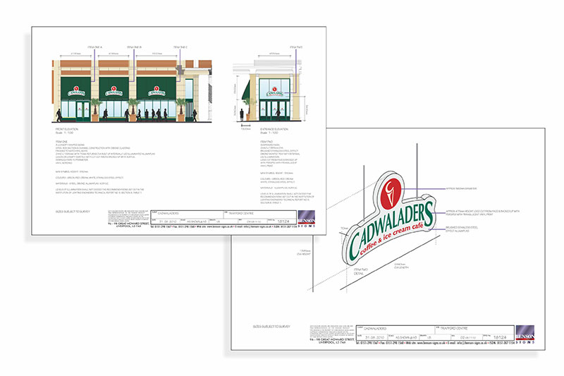 Cadwaladers signage scheme drawings
