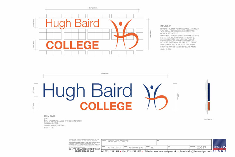 Hugh Baird College Signage Drawings